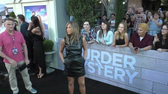 jennifer aniston at the murder mystery premiere at regency village theatre in westwood in celebrity sightings in los angeles - jennifer aniston stock videos & royalty-free footage