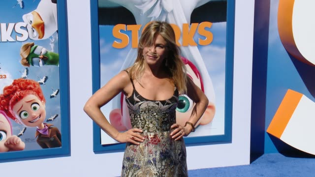 jennifer aniston at the storks los angeles premiere at regency village theatre on september 17 2016 in westwood california - jennifer aniston stock videos & royalty-free footage