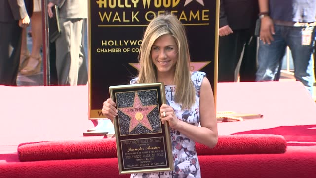 jennifer aniston honored with star on the hollywood walk of fame, hollywood, ca, united states, 2/22/12 - キャスリン ハーン点の映像素材/bロール
