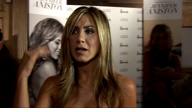 jennifer aniston launches new fragrance at harrods in london jennifer aniston interview sot on why she changed the name of her fragrance from lolavie... - jennifer aniston stock videos & royalty-free footage