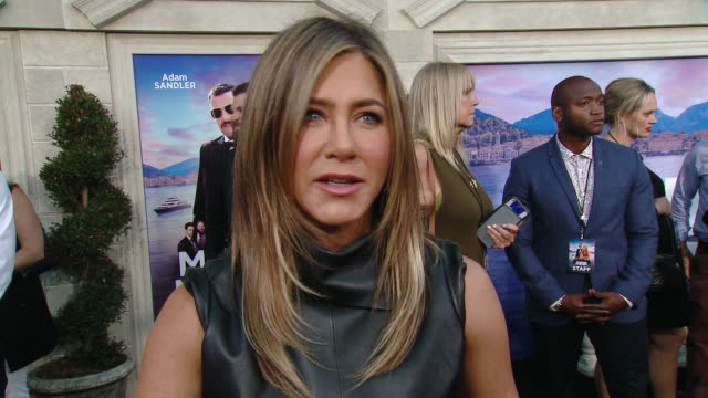 interview jennifer aniston on how adam talked her into doing another film together why the international ensemble cast was important to the film and... - jennifer aniston stock videos & royalty-free footage