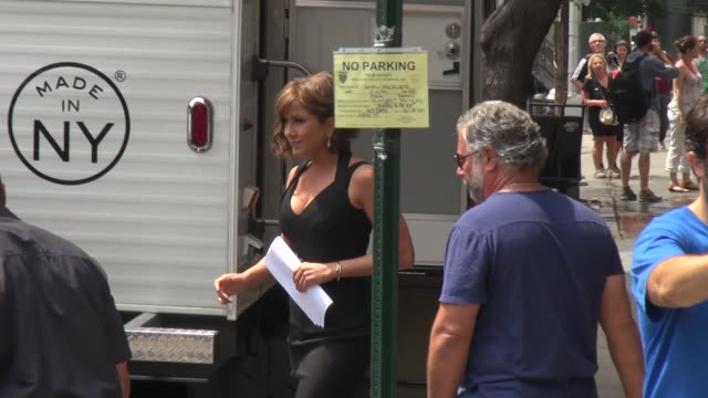 jennifer aniston on the set of 'squirrels to the nuts' in new york ny on 7/22/13 - film set stock videos & royalty-free footage