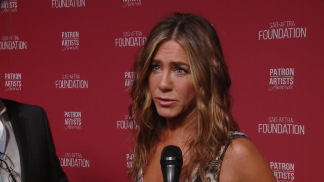interview jennifer aniston on what it means to receive the 'artist inspiration award' from the sagaftra foundation at the sagaftra foundation's 4th... - jennifer aniston stock videos & royalty-free footage