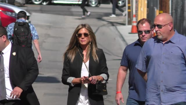 jennifer aniston promotes murder mystery on jimmy kimmel live in hollywood in celebrity sightings in los angeles - jennifer aniston stock videos & royalty-free footage