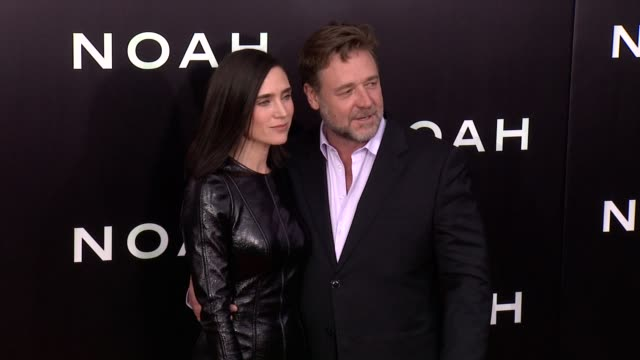jennifer connelly and russell crowe at noah new york premiere arrivals at ziegfeld theater on march 26 2014 in new york city - russell crowe stock videos & royalty-free footage