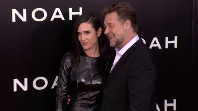 jennifer connelly and russell crowe at noah new york premiere arrivals at ziegfeld theater on march 26 2014 in new york city at ziegfeld theater on... - russell crowe stock videos & royalty-free footage