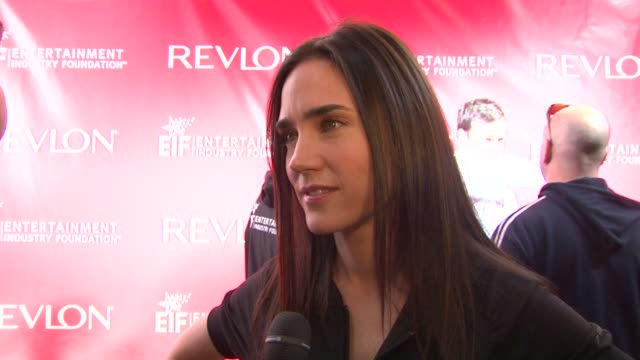 Jennifer Connelly tlking about running in the event being here as a Revlon ambassador family members that have died of cancer and her upcoming film...