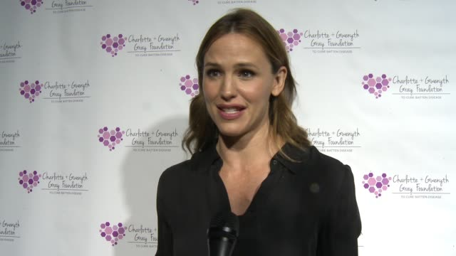 jennifer garner on what it means to be a part of the event at the charlotte and gwenyth gray foundation to cure batten disease fundraiser on october... - interview stock videos & royalty-free footage