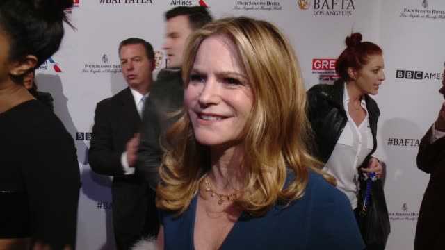 interview jennifer jason leigh on being at the event and on her film 'the hateful eight' at the bafta los angeles awards season tea party at four... - tea party stock videos and b-roll footage