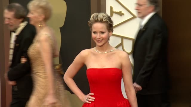 jennifer lawrence 86th annual academy awards arrivals at hollywood highland center on march 02 2014 in hollywood california - academy awards stock videos & royalty-free footage