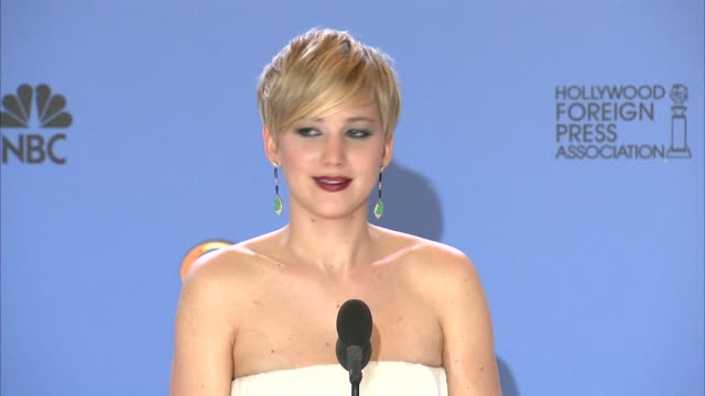 INTERVIEW Jennifer Lawrence at 71st Annual Golden Globe Awards Press Room in Los Angeles CA