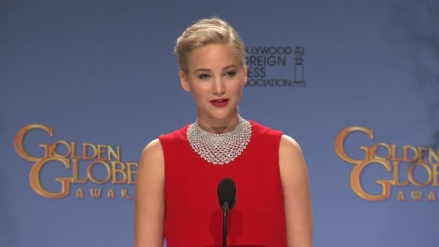 jennifer lawrence at 73rd annual golden globe awards - press room at the beverly hilton hotel on january 10, 2016 in beverly hills, california. - golden globe awards stock videos & royalty-free footage