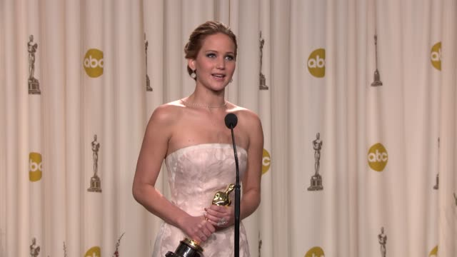 speech jennifer lawrence at 85th annual academy awards press room on 2/24/13 in los angeles ca - academy awards stock videos & royalty-free footage