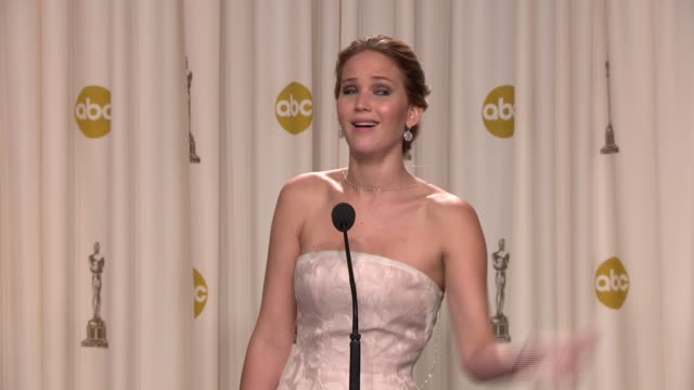 speech jennifer lawrence at 85th annual academy awards press room on 2/24/13 in los angeles ca - oscars stock videos & royalty-free footage