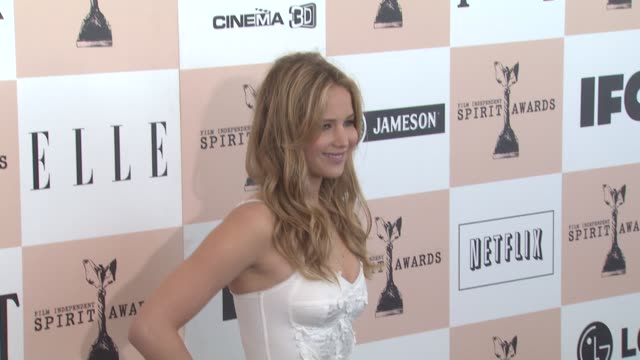 jennifer lawrence at the 2011 independent spirit awards arrivals part 2 at santa monica ca - film independent spirit awards stock videos & royalty-free footage