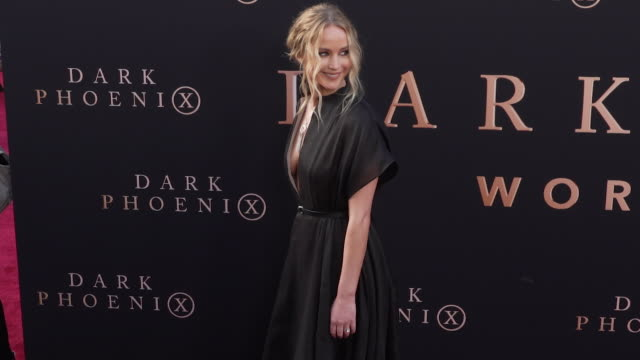 jennifer lawrence at the dark phoenix global premiere - gif file format extension stock videos & royalty-free footage