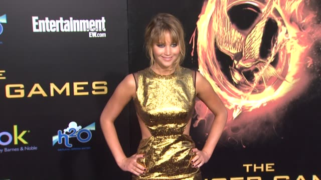 jennifer lawrence at the hunger games world premiere on 3/12/2012 in los angeles, ca. - premiere event stock videos & royalty-free footage