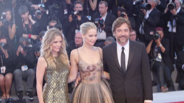 jennifer lawrence javier bardem michelle pfeiffer at 'mother' red carpet 74th venice international film festival at palazzo del casino on september... - michelle pfeiffer stock videos & royalty-free footage