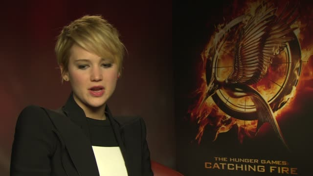 interview jennifer lawrence on the franchise coming to an end at the hunger games catching fire' interviews on november 11 2013 in london england - franchising stock videos and b-roll footage