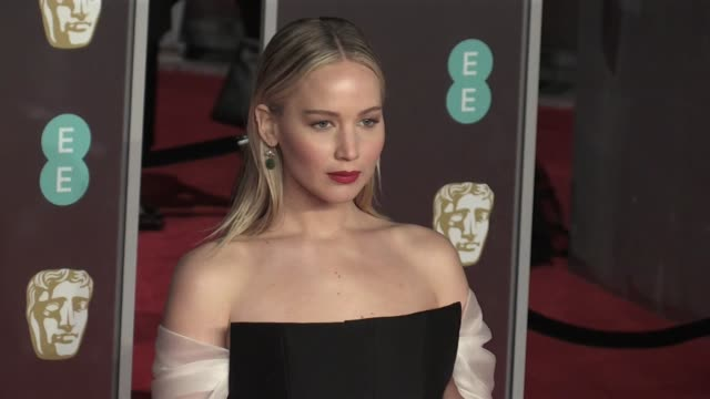 jennifer lawrence on the red carpet of the 2018 bafta award ceremony in london london uk 18th february 2018 - time's up social movement stock videos and b-roll footage