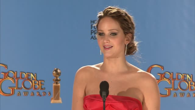 jennifer lawrence on working with bradley cooper. at 70th annual golden globe awards - press room 1/13/2013 in beverly hills, ca. - golden globe awards stock videos & royalty-free footage