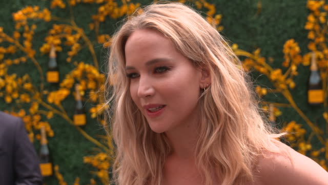 jennifer lawrence talks about her upcoming projects at liberty state park on june 01, 2019 in jersey city, new jersey. - インタビュー素材点の映像素材/bロール