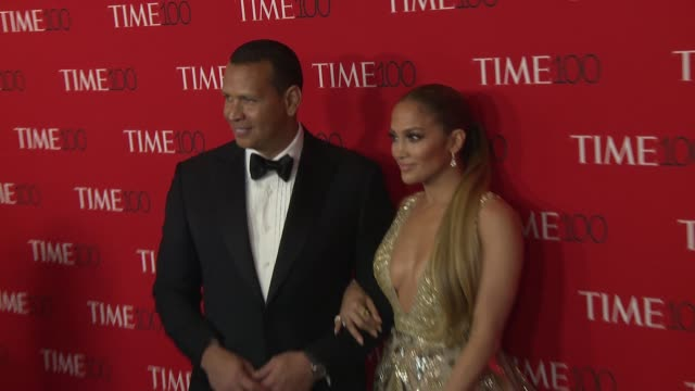 jennifer lopez and alex rodriguez at the 2018 time 100 gala at frederick p rose hall jazz at lincoln center on april 24 2018 in new york city - ジェニファー・ロペス点の映像素材/bロール