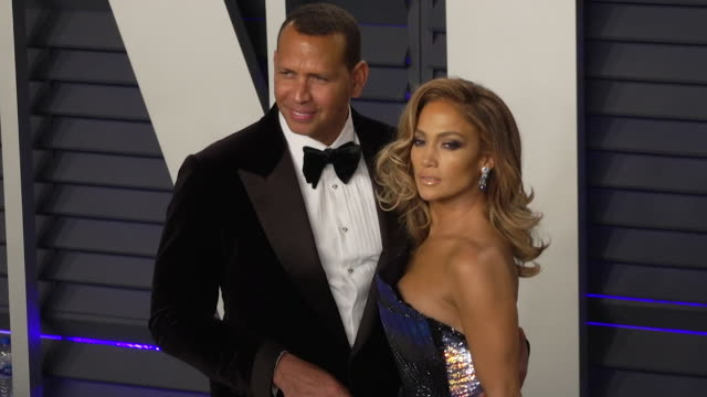 jennifer lopez and alex rodriguez at the academy awards vanity fair oscar party the 2018 time 100 gala and the 2018 mtv video music awards - vanity fair video stock e b–roll