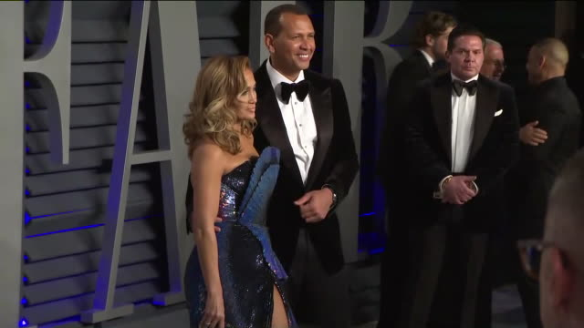 ktla jennifer lopez and alex rodriguez at vanity fair oscar party - vanity fair video stock e b–roll