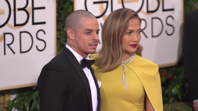 Jennifer Lopez and Casper Smart at the 73rd Annual Golden Globe Awards Arrivals at The Beverly Hilton Hotel on January 10 2016 in Beverly Hills...