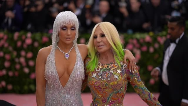 jennifer lopez and donatella versace at the 2019 met gala celebrating camp notes on fashion arrivals at metropolitan museum of art on may 06 2019 in... - met gala 2019 stock videos and b-roll footage