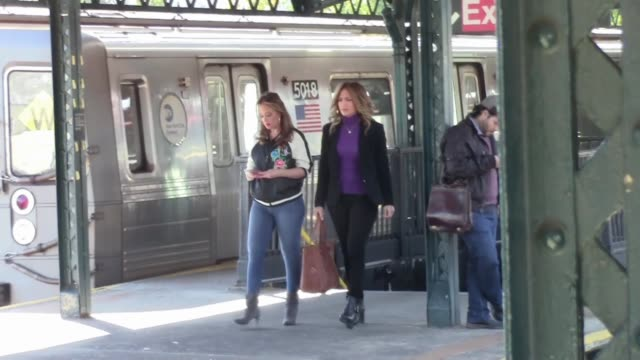 jennifer lopez and leah remini are seen filming a subway scene for their movie 'second act' in astoria in new york city - film set stock videos & royalty-free footage
