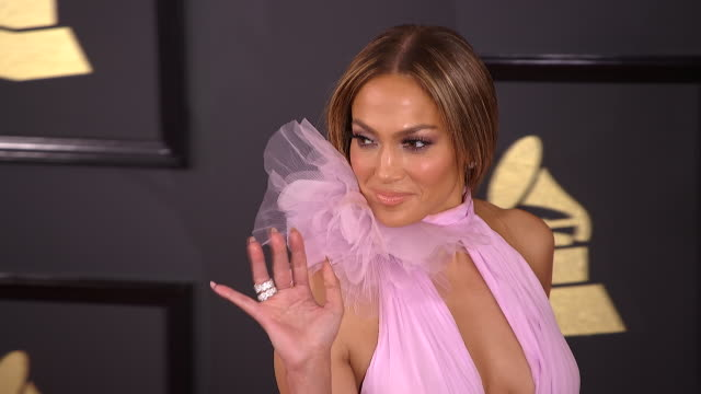 jennifer lopez at 59th annual grammy awards arrivals at staples center on february 12 2017 in los angeles california - jennifer lopez stock videos & royalty-free footage