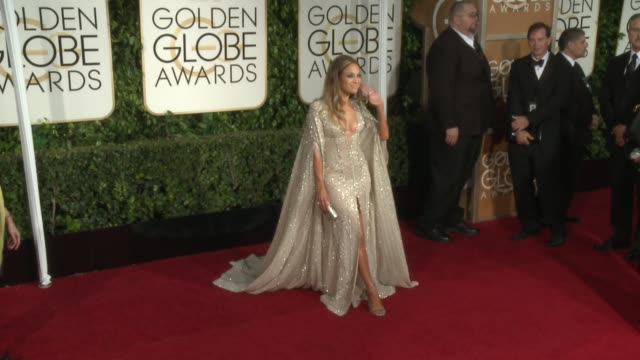 jennifer lopez at 72nd annual golden globe awards - arrivals at the beverly hilton hotel on january 11, 2015 in beverly hills, california. - the beverly hilton hotel stock videos & royalty-free footage