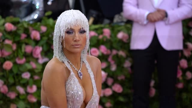 jennifer lopez at the 2019 met gala celebrating camp notes on fashion arrivals at metropolitan museum of art on may 06 2019 in new york city - ジェニファー・ロペス点の映像素材/bロール