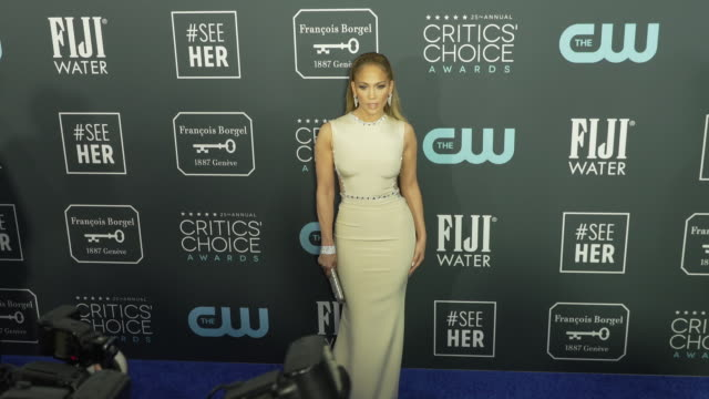 jennifer lopez at the 25th annual critics' choice awards at barker hangar on january 12 2020 in santa monica california - jennifer lopez stock videos & royalty-free footage
