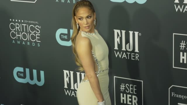 jennifer lopez at the 25th annual critics' choice awards at barker hangar on january 12 2020 in santa monica california - gif stock videos and b-roll footage