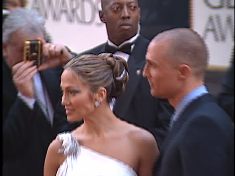 jennifer lopez at the golden globes 2001 at beverly hilton hotel, beverly hills in beverly hills, ca. - the beverly hilton hotel stock videos & royalty-free footage