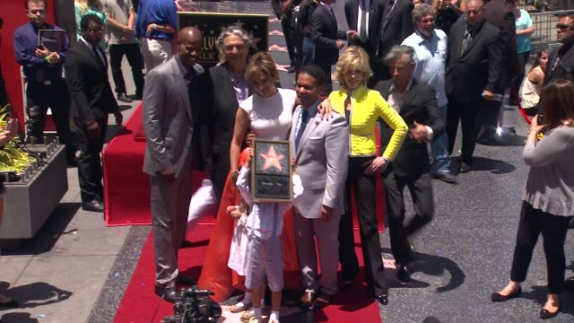jennifer lopez jane fonda keenan ivory wayans pitbull gregory nava and benny medina at jennifer lopez honored with star on the hollywood walk of fame... - walk of fame stock videos & royalty-free footage