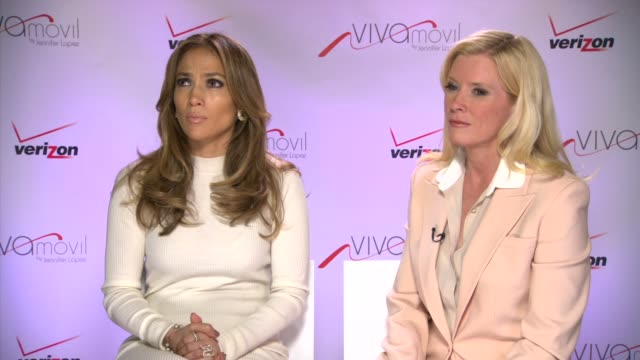 stockvideo's en b-roll-footage met interview jennifer lopez marni walden on working together at verizon wireless press conference announcing viva movil by jennifer lopez on 5/22/13 in... - jennifer lopez