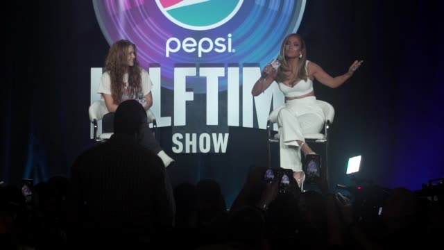 interview jennifer lopez on the performance strong female representation and kobe bryant at the pepsi super bowl liv halftime show press conference... - super bowl stock videos & royalty-free footage