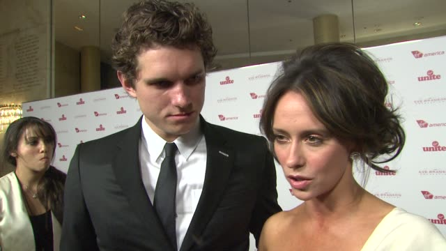 jennifer love hewitt alex beh on who she's wearing why the wanted to be a part of the evening what they appreciate about the work virgin unite does... - jennifer love hewitt stock videos & royalty-free footage