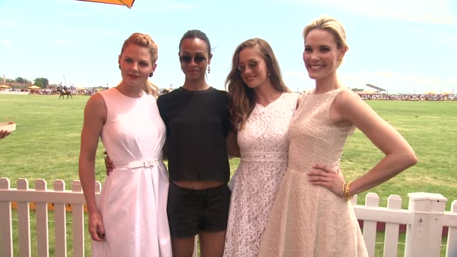 jennifer morrison zoe saldana minka kelly leslie bibb at the fifth annual veuve clicquot polo classic at liberty state park on june 02 2012 in jersey... - 動物を使うスポーツ点の映像素材/bロール