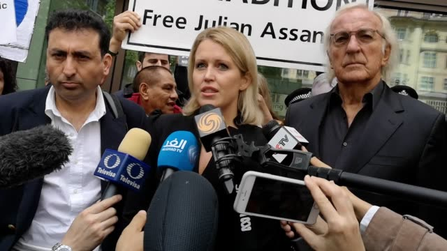Jennifer Robinson a lawyer representing Julian Assange gave a statement outside Westminster Magistrates' Court in London after the latest extradition...