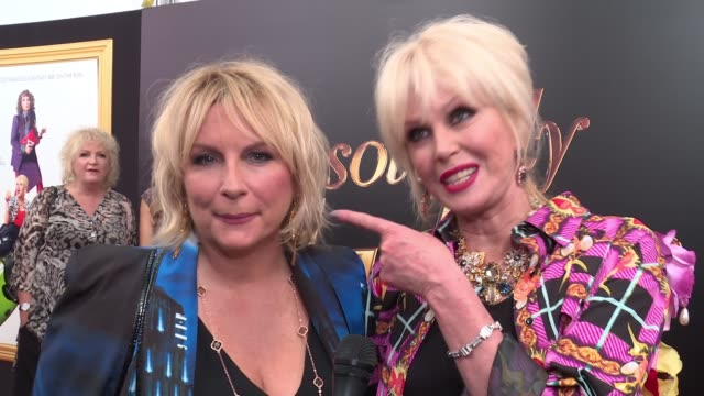 interview jennifer saunders and joanna lumley say the film is about two best friends who flee to the french riviera as fugitives penniless because of... - jennifer saunders stock videos & royalty-free footage