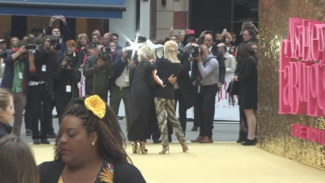 jennifer saunders joanna lumley at 'absolutely fabulous the movie' uk film premiere at odeon leicester square on june 29 2016 in london england - jennifer saunders stock videos & royalty-free footage