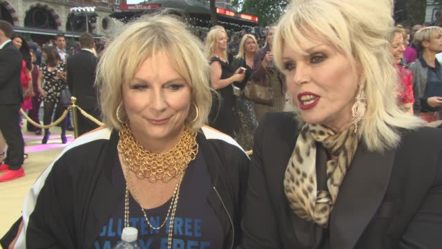 interview jennifer saunders joanna lumley on bring the series to film the script working with kate moss their characters at 'absolutely fabulous the... - jennifer saunders stock videos & royalty-free footage