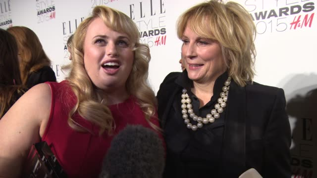 interview jennifer saunders rebel wilson on haning out with jennifer saunders 'absolutely fabulous' movie drinking at elle style awards on february... - jennifer saunders stock videos & royalty-free footage