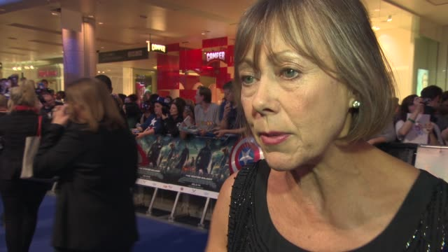 interview jenny agutter on being a part of the franchise working with scarlett johansson and samuel l jackson working with the russo brothers at... - franchising stock-videos und b-roll-filmmaterial