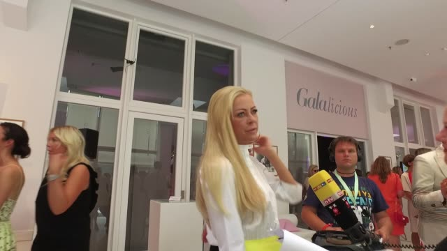 Jenny Elvers giving an interview to German television on the 'Gala' fashion brunch during the MercedesBenz Fashion Week Berlin Spring/Summer 2017 at...